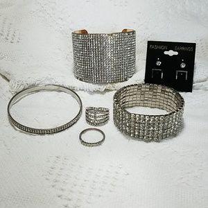 Lot of 6 Rhinestone Jewelry pieces